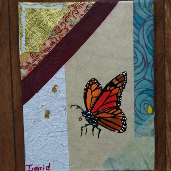 Monarch Butterfly Painting on Japanese Paper